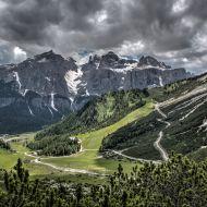 Dolomiten - Kolfuschg-Tal mit Sella-Gebirgsmassiv