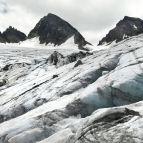 Gletscherspalten beim Abstieg